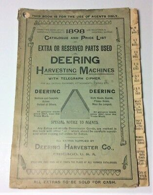 Original 1898 Agents Catalogue and Price List+ for Deering Harvesting Machines