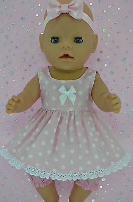 "Play n Wear Doll Clothes To Fit 17"" Baby Born POLKA DOT DRESS~BLOOMERS~HEADBAND"