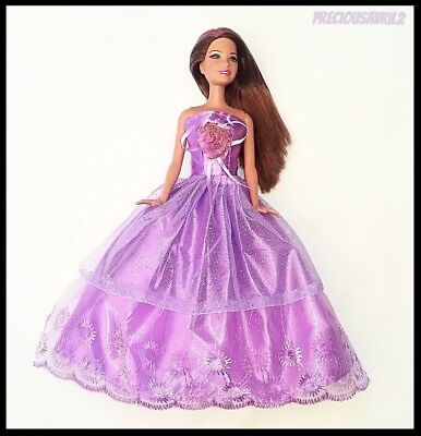 Barbie Doll Clothes Purple Evening Dress/Clothing/Outfit/Wedding/Evening