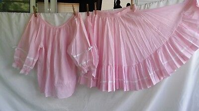 Square Dance Costume Outfit Rockmount Ranch Pink Gingham Skirt & Blouse Size S