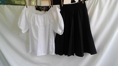 Square Dance Costume Outfit Black Skirt/White Blouse w/ Butterfly Clasp Belt
