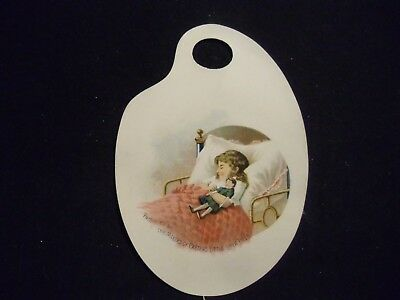 victorian trade card # 6335 - CARTERS PILLS - ARTIST PALETTE - GIRL WITH DOLL