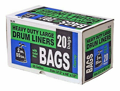 Heavy Duty Large Drum Liners, 50 Gallons, 37.5x48x10 Inches