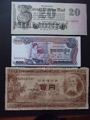 OLD - Paper Banknotes x 3 - Nice Old Notes
