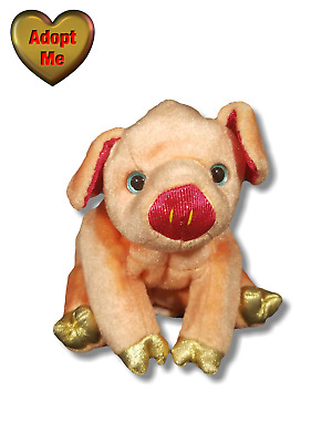 Ty Beanie Babies 2000 Chinese Zodiac Gold Hooves Pig Stuffed Plush Animal 6in