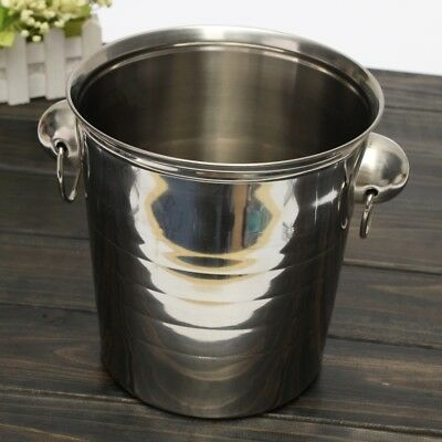 4X(Silver Stainless Steel Ice Punch Bucket Wine Beer Cooler Champagne Cooler SS