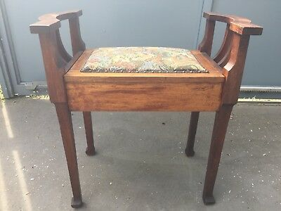 Piano stool Art Deco oak, lift up seat. Pretty design