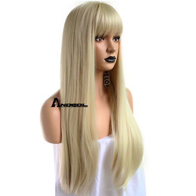 Anogol Blonde 613 Wig Synthetic Cabelo With Bangs Fringe Long Wavy Wigs Peluca