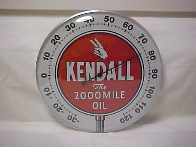 """Kendall Oil 12"""" Round Thermometer With Dome Glass Front & Aluminum Casing"""