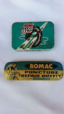 Vintage cycling puncture repair tins - Rema Tip Top; Romac