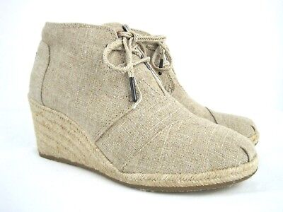 2ee35ad5381 TOMS Women s Beige Textile Lace Up Espadrille Wedge Heel Ankle Booties Size  8.5