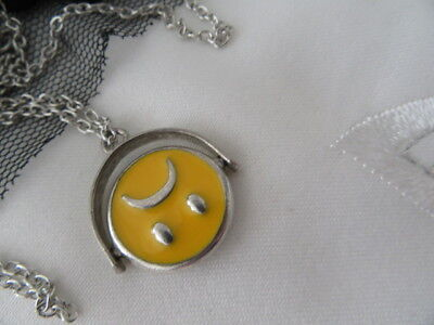 Stunning Vintage Smiley Face, Sad Face Spinner Pendant And Chain
