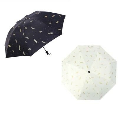 Folding Anti UV Sun Rain Umbrella Automatic Feather Parasol Windproof Umbrella