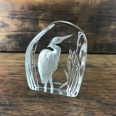 Vintage Dartington Frosted Stork Crystal Art Glass Paperweight Made In England