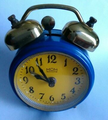Mom Double Bell Vintage Wind Up Alarm Clock spare and repair  WORKING