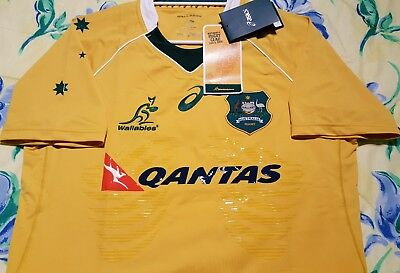ASICS Australia Qantas Wallabies 2016/17 Home Jersey LARGE Size NEW with Tags