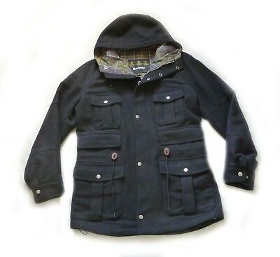 Beautiful Barbour Heritage Wool Jacket / Hooded Coat - Med - Vgc Expensive £295