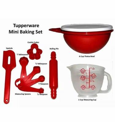 Tupperware Kids TupperToys My First Baking Dishes 6pc Set Red New