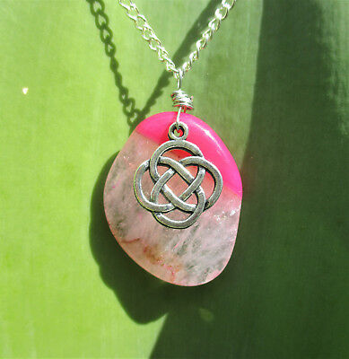Celtic Knot Pink Agate Necklace - celtic jewellery gemstone pendant crystals