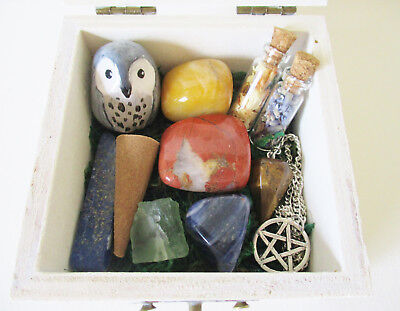 Goddess Altar Box - wiccan altar tools gemstone collection pagan kits owl statue