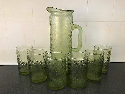 Vintage Retro Lime Green Pressed Glass Jug and Glasses Collectable Glassware