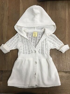 Baby Girl PUMPKIN PATCH winter Cardigan Dress Knitted White Size 1