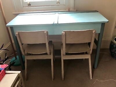 Vintage upcycled kids double school desk with hinged lift up lid and chairs