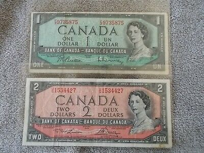 Bank of Canada circulated 1954 One and Two Dollar Note