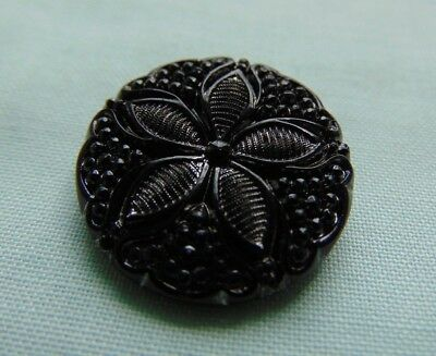 Beautiful Antique Victorian 1800s Black Jet Button Carved Intricate Flower Rare
