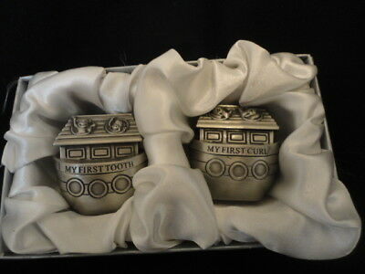 Noah Ark Pewter First Tooth & Curl Boxes - NIB