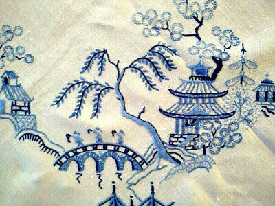 """Glorious Blue Willow   ~ Skilfully Hand Embroidered Large Tablecloth 48"""" X 49.5"""""""