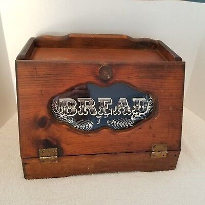Vintage Wooden Bread Box glass window Hinged Front Lid Country Kitchen