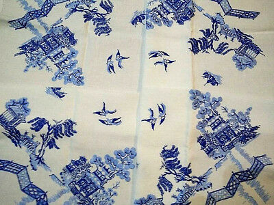 "Fabulous Blue Willow  ~ Skilfully Heavily Hand Embroidered Tablecloth 39"" x 41+"""