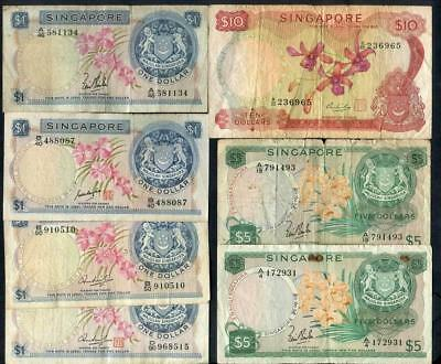 Mix Lot 192 - Singapore $10, $5 & $1 x4 (4 Different type $1) Banknotes (7)