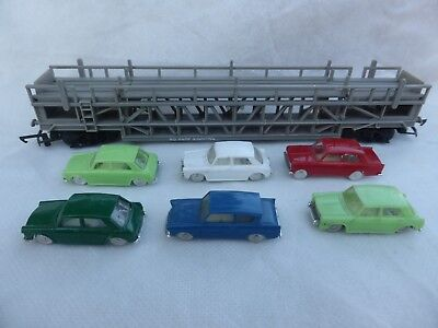 Tri-ang Hornby R342 Car Transporter with 6 Minix Morris 1100 cars
