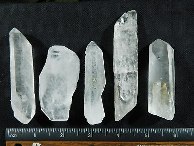 Lot of FIVE! Larger Nice and 100% Natural Quartz Crystals! From Brazil 200gr