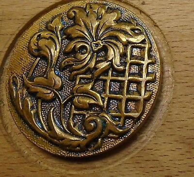"NICE 1 1/16"" French Tight Top  Brass Antique Button 696:2"
