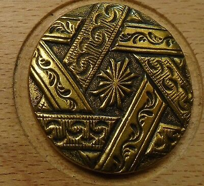 "NICE 1 1/16"" French Tight Top  Brass Antique Button 696:4"