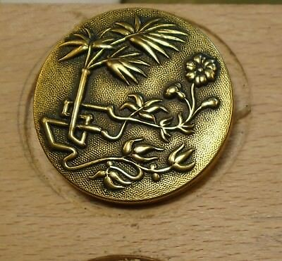 "NICE 1 1/16"" French Tight Top  Brass Antique Button 696:5"