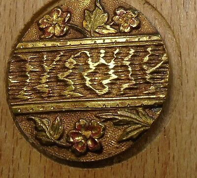 "NICE 1"" French Tight Top  Brass Antique Button 696:14"