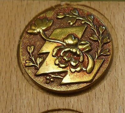 "NICE 1"" French Tight Top  Brass Antique Button 696:9"