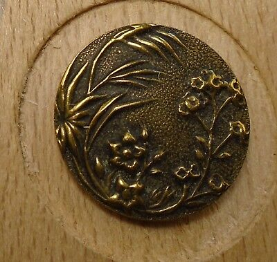 "NICE 11/16"" French Tight Top  Brass Antique Button 696:20"