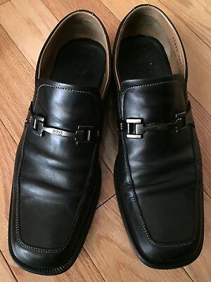98e2e9d9a72 Boss Hugo Boss Men s Horsebit Loafers Black Leather Dress Shoes Slip On Sz  9.5