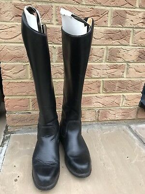 Mountain Horse Size 8 /42 Wide Fit Black Long Leather Riding Boots With Back Zip