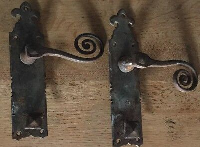 Pair of wraught iron antique blacksmith made door handles gothic? original.