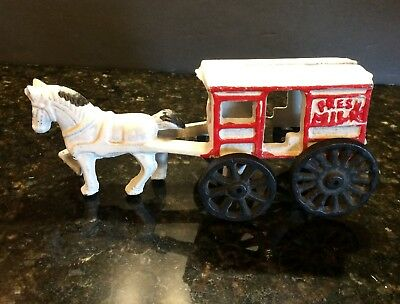 Vintage Cast Iron Horse and Fresh Milk Wagon