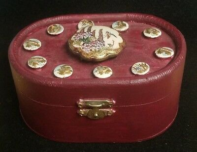 "Handcrafted 5"" Box Using Vintage Satsuma 1/2"" Buttons & 1 5/8"" Buckle (F3)"