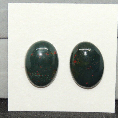 Bloodstone Cabochons 13x18mm with 5.5mm dome from India set of 2 (13815)