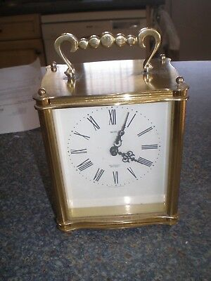 Vintage Smiths Sectronic Brass Battery Carriage/Mantel Clock Good Timekeeper