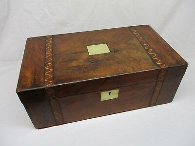 Large antique writing slope, wood and brass inlay, old, vintage